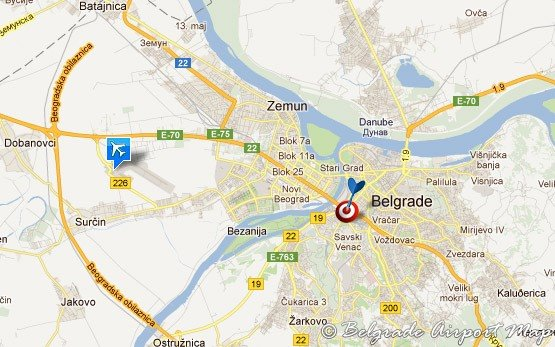 Белград - Карта аэропорта