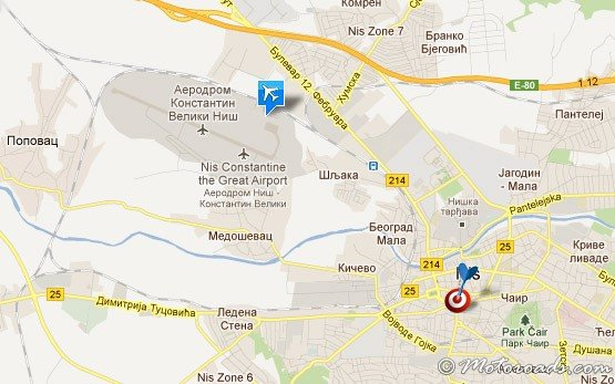 Map of Nis Constantine the Great Airport, Serbia