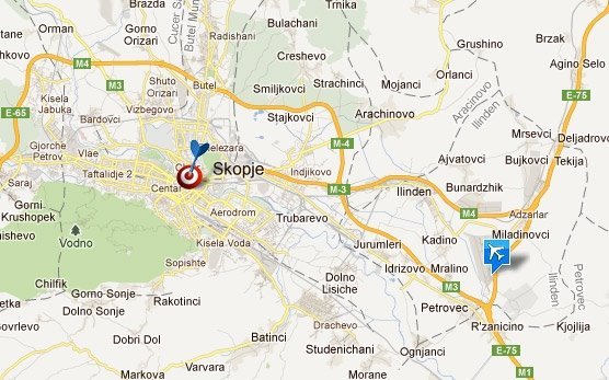 Skopje Airport Map