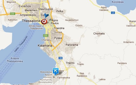 Аэропорт Салоники карта