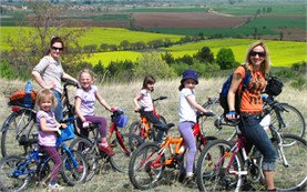 Family cycling in Bulgaria