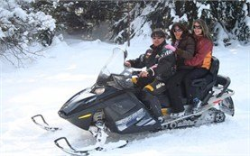 Participants in snowmobile tours in Bulgaria