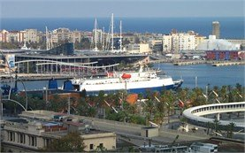 Sea port Barcelona - bird view